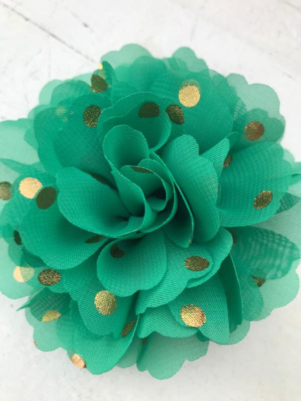 Bloemen chiffon 10 cm groen polkadot goud