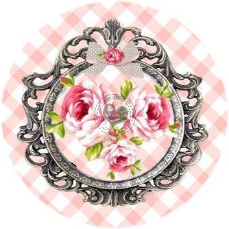 Flatback roosjes in frame roze ruitje (k066)
