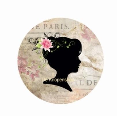 Flatback Silhouet roosje roze(k123)