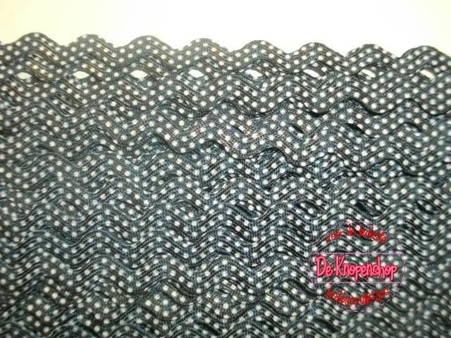 Zigzagband marine polkadot 5mm
