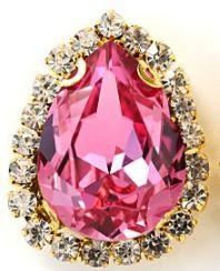 Flatback rhinestone druppel luxe pink gold 2.3cm