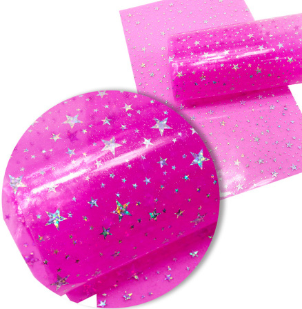 Leer doorzichtig/transparant roze glinster sterren 20x34 cm