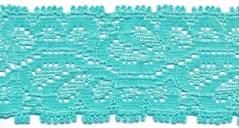 Elastisch kant (haarbandjes) aqua blauw 3.5 cm