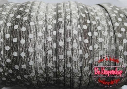 Haarband elastiek zilver grijs polkadot 1,5 cm