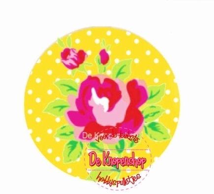 Flatback fuchsia roosje op gele polkadot(k647)