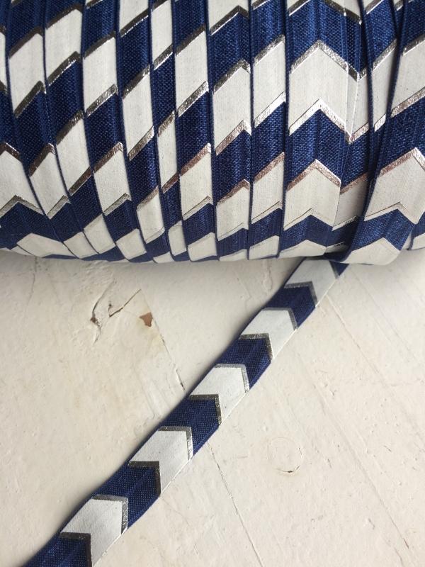 Elastisch haarband donkerblauw/zilver/wit