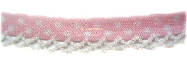 Biasband kantje stippel baby roze katoen