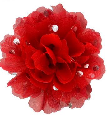 Bloemen chiffon 10 cm rood polkadot goud