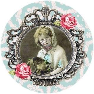 Flatback vintage meisje frame & hond blauw (K325)