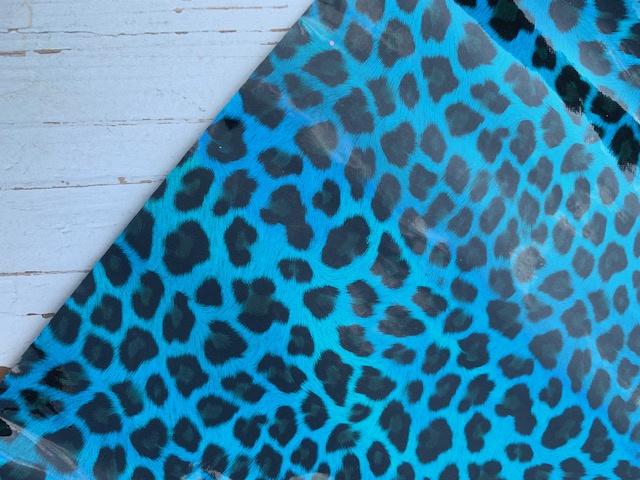 leer panter/tijger zwart blauw glanzend 20x30 cm