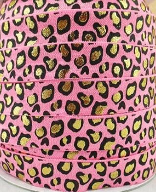 Elastisch band tijger/panter roze gold