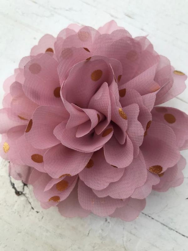 Bloemen chiffon 10 cm dusty pink / oud roze polkadot goud