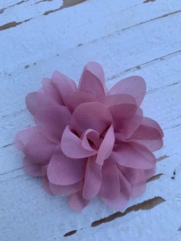 Chiffon bloem Dusty pink/oud roze 7cm
