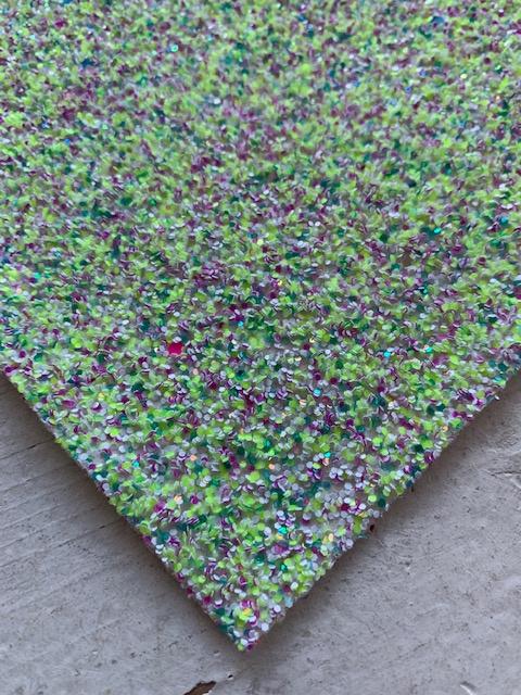 Glitter Leer grof geel/groen/hot pink confetti mix 20x32cm
