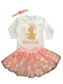 First New Year tutu stippen + haarband (3-delig)
