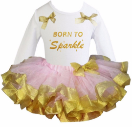 Tutu Satijn set Born To Sparkle lang/korte mouw roze