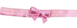 Haarband strik klein, roze