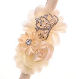 Haarband CREAM/IVOOR met bloemen en pareltjes