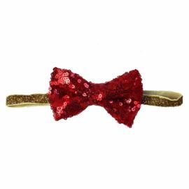 Haarband strik glitter rood/goud