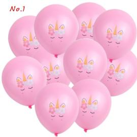 Unicorn Ballonnen nr. 1- ROZE - 5 stuks