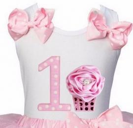 Top 1 jaar stippen roze cupcake