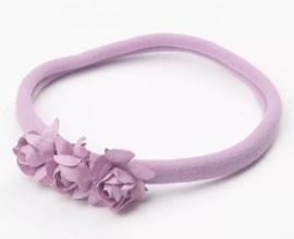 Haarband roosjes, lavendel