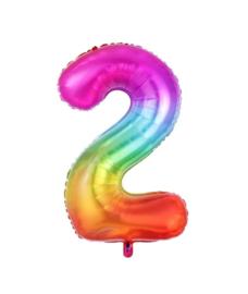 Folie Ballon cijfer 2 - regenboog