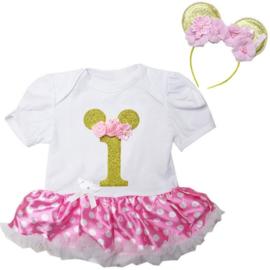 Minnie Mouse verjaardag 1 jaar + diadeem Minnie Mouse