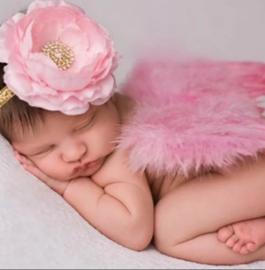 Newborn engelen vleugels pink + haarband