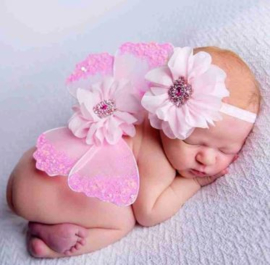Newborn engelen vleugels roze strass + haarband