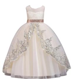 Elegante jurk creme met zilver