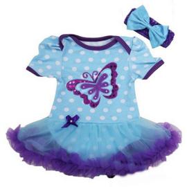 Babyjurk vlinder paars/blauw + haarband