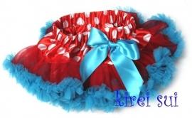 Pettiskirt Rood met stippen en blauw