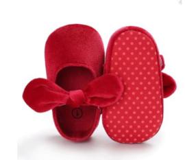 Babyschoen rood velvet strik