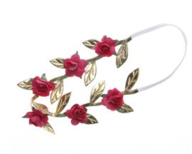 Haarband mini roosjes rood/goud