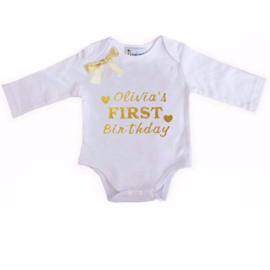 Baby shirt First birthday + eigen naam lange/korte mouw