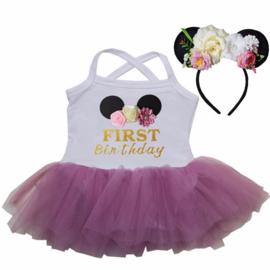 Minnie Mouse verjaardag babyjurk First Birthday