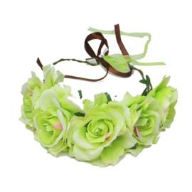 Haarband roosjes lime groen