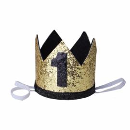 Haarband kroon zwart/goud 1 jaar