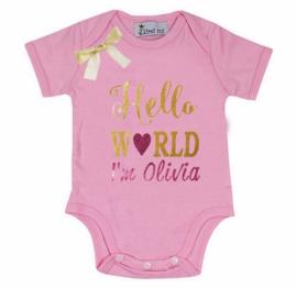 Baby shirt Hello World roze + eigen naam