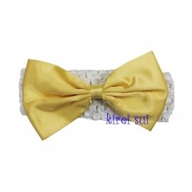 Haarband Wit strik geel