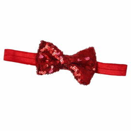 Haarband strik glitter rood