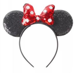 Minnie Mouse glitter diadeem rood 3d