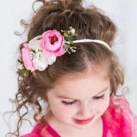 Haarband romantische bloemenzee roze