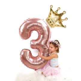 Folie Ballon Kroon + cijfer 3 - goud met rosé goud