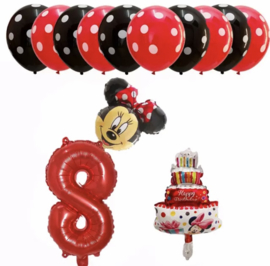 Minnie Mouse ballon set ROOD 8 jaar (13-delig)