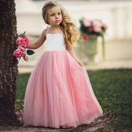 Feestjurk roze tule met witte top