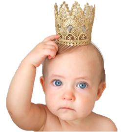 Haarband kroon kant goud opengewerkt