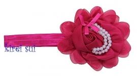 Haarband pink roos/parels