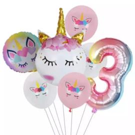 Folie ballonnen Unicorn 3 jaar (7-delig)